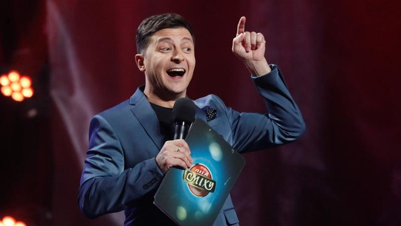 Volodymyr Zelensky, Ukrainian actor and candidate in the upcoming presidential election, hosts a comedy show at a concert hall in Kiev on February 22, 2019 [File: Reuters/Valentyn Ogirenko]