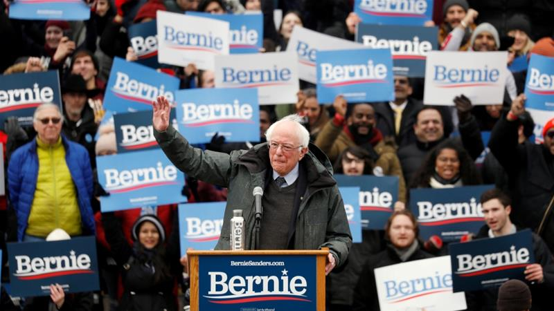 Vermont Senator Bernie Sanders spoke at a rally in New York on March 2 [Reuters/Andrew Kelly]