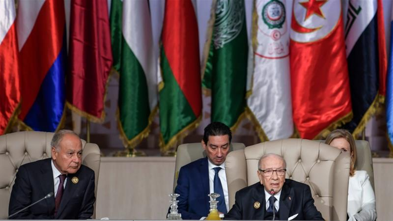 Tunisian President Beji Caid Essebsi chairs a session of the 30th Arab League summit in Tunis [Fethi Belaid/ Pool via AFP]