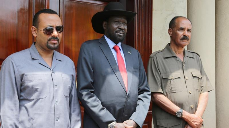 Abiy Ahmed, Salva Kiir and Isaias Afwerki held talks in Juba [Jok Solomun/Reuters]