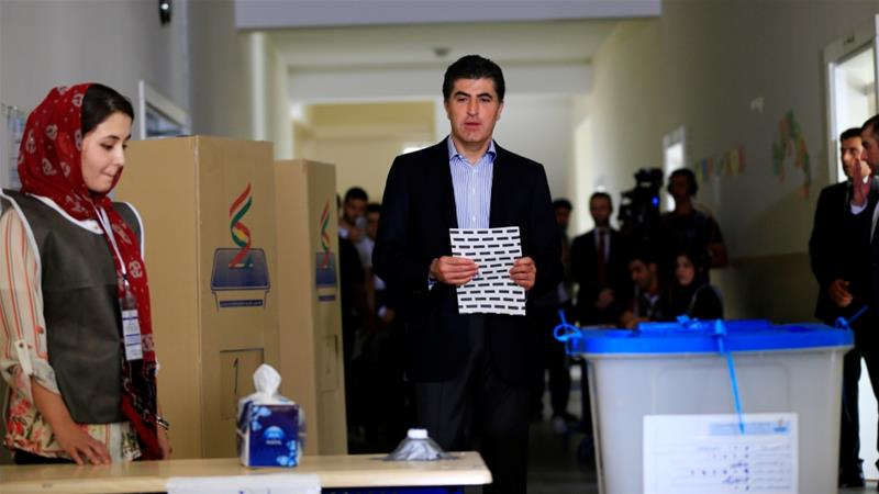 Nechirvan Barzani, of the KDP, voting in September's parliamentary election [File: Thaier Al-Sudani/Reuters]