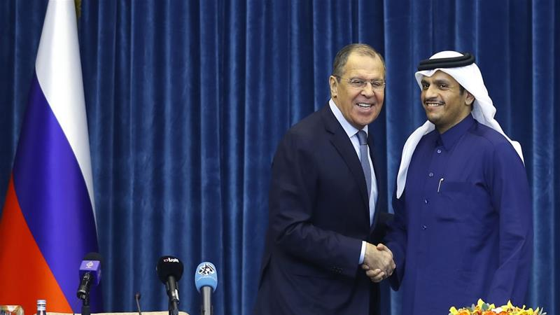 Regional security issues dominated discussions between Sergey Lavrov and Sheikh Mohammed bin Abdulrahman Al Thani [Karim Jaafar/AFP]