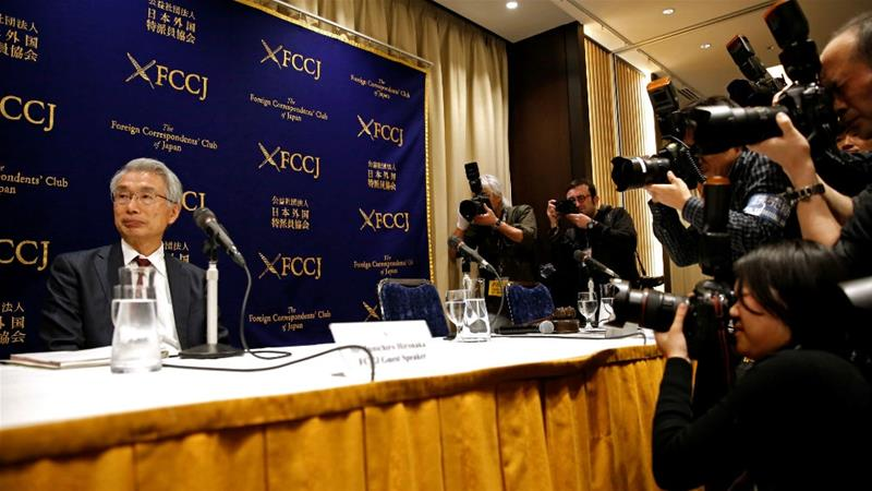 Junichiro Hironaka, chief lawyer of former Nissan chairman Carlos Ghosn, at a news conference in Tokyo on Monday [Issei Kato/Reuters]