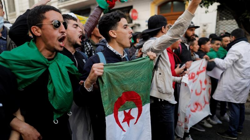 Students take part in a protest against Bouteflika in the capital Algiers early this month [Zohra Bensemra/Reuters]