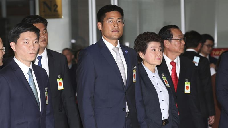The leader of Thai Raksa Chart party, Preechapol Pongpanich, arrives at the Constitutional Court in Bangkok in early March [File: Sakchai Lalit/AP]