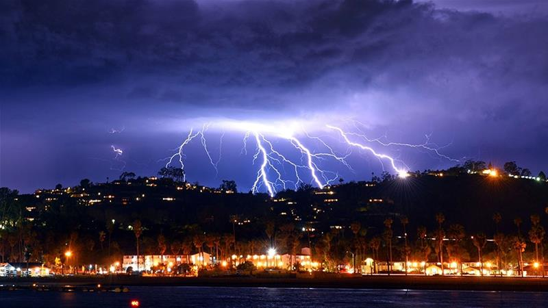 Lightnings light up the skies as a storm approaches Santa Barbara in California [Mike Eliason/EPA]