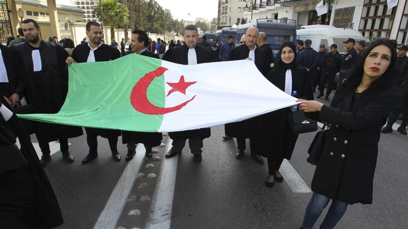Algerians have been protesting against Bouteflika's decision to run for the presidency again since February 22 [Anis Belghoul/AP]