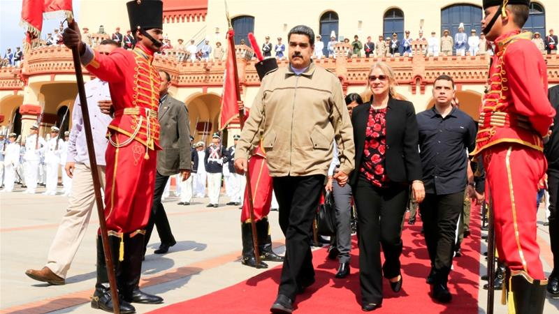 Venezuela's President Nicolas Maduro and his wife Cilia Flores attend a ceremony to commemorate the sixth anniversary of the death of Hugo Chavez on March 5, 2019 [Reuters]
