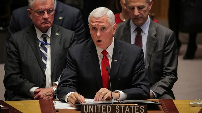 US Vice President Mike Pence addresses the United Nations Security Council at UN headquarters in New York [Brendan McDermid/Reuters]