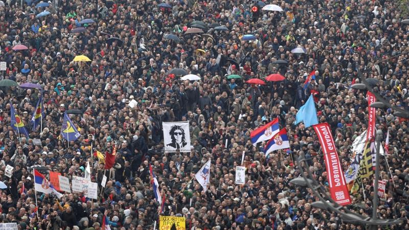 Police estimated the strength of the crowd between 7,000 and 10,000 [Djordje Kojadinovic/Reuters]