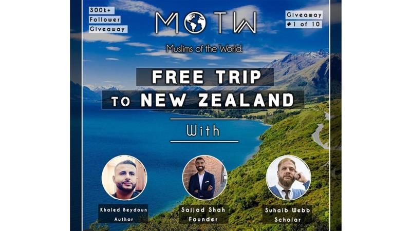 On April 4, the online platform Muslims of the World announced on its Instagram account a competition to win a 'free trip to New Zealand'  [screenshot/Instagram]