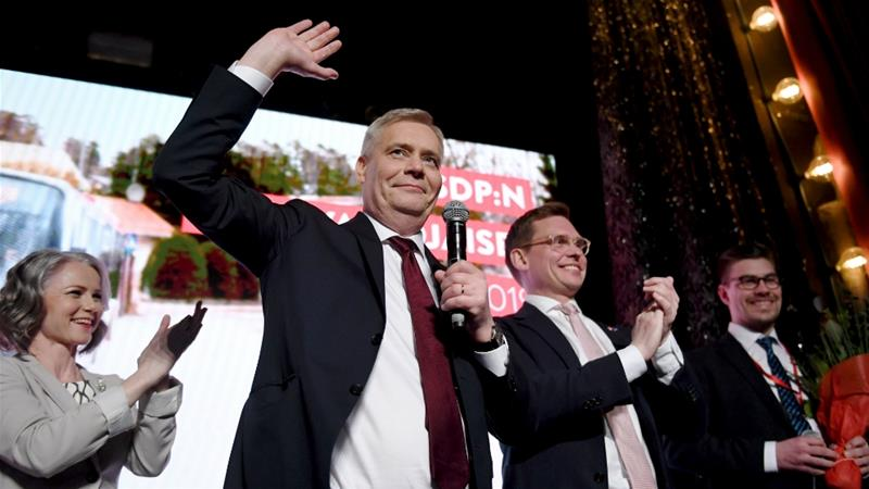 A first-place spot would put the Social Democrats at the head of the government for the first time in 16 years [Lehtikuva/Antti Aimo-Koivisto/Reuters]