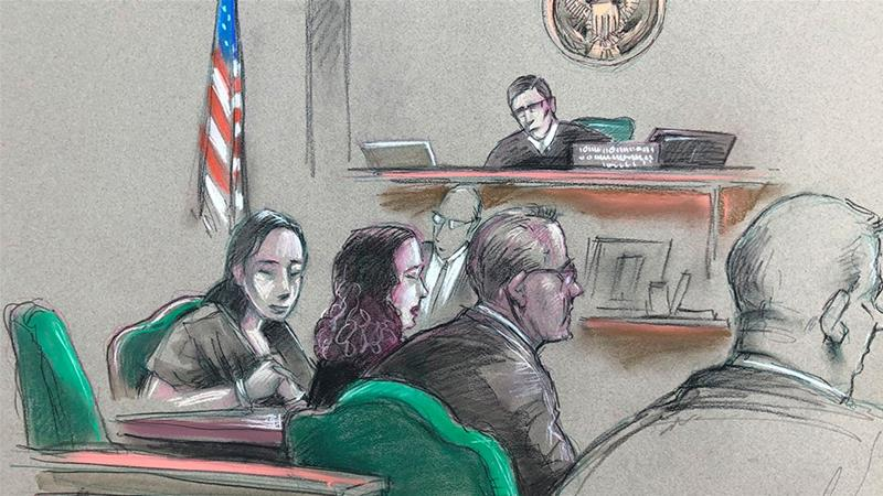 In this artist sketch, Yujing Zhang,  listens to a hearing on Monday, April 8, 2019, before federal Magistrate Judge William Matthewman in West Palm Beach [Daniel Pontet/AP Photo]    [Daylife]