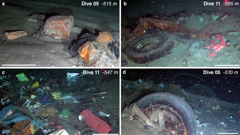 Stills of ROV footage show litter accumulations at the bottom of the Messina Strait [Courtesy of Nature.com]