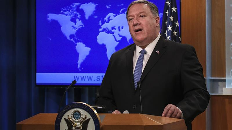 US Secretary of State Mike Pompeo speaks about the Trump administration's Cuba policy during a press briefing at the US Department of State