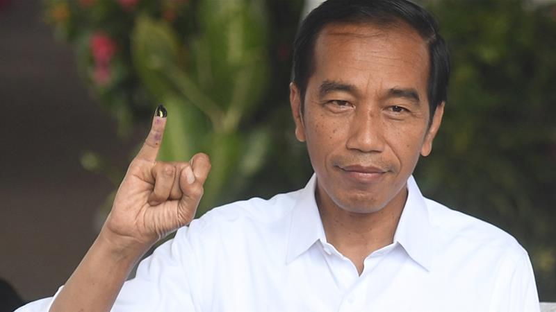 Widodo told reporters world leaders have congratulated him on securing a second term [Reuters]