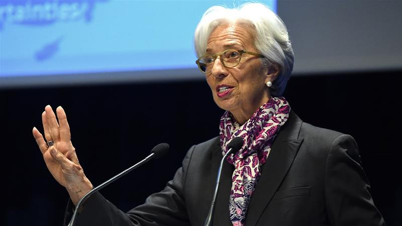 IMF Managing Director Christine Lagarde speaks during a symposium on the occasion the 20th anniversary of the euro at the Banque de France in Paris [File: Eric Piermont/AFP]