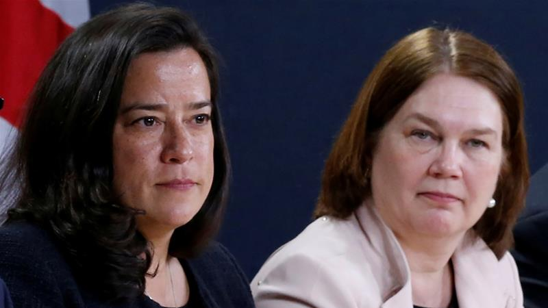 "'Our political opponents win when Liberals are divided,"" said Trudeau while announcing the expulsion of Wilson-Raybould (left) and Philpott [File: Chris Wattie/Reuters]"