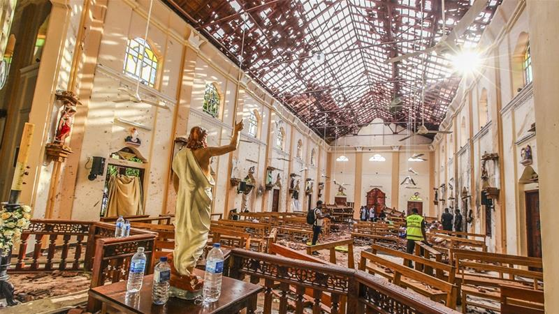 A view of St Sebastian's Church damaged in blast in Negombo, north of Colombo [File: Chamila Karunarathne/AP]