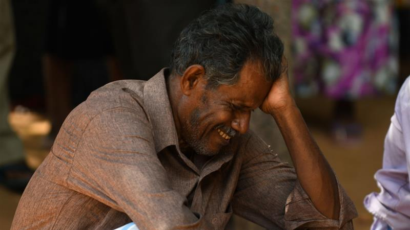 A relative of a Sri Lankan victim of an explosion at a church weeps outside a hospital in Batticaloa [Lakruwan Wanniarachchi/AFP]