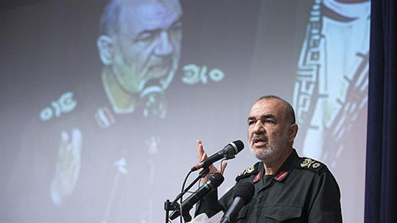 Hossein Salami was quoted as saying he and the IRGC were proud of being designated a terrorist organisation by the US (Sepahnews via AP)