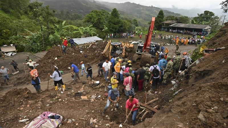 Landslide kills at least 17 in Colombia town; search continues for victims
