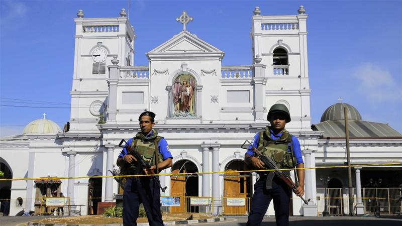 Sri Lankan soldiers stand guard in front of the St Anthony's Shrine a day after it was bombed in Colombo, Sri Lanka, April 22, 2019 [AP/Eranga Jayawardena]