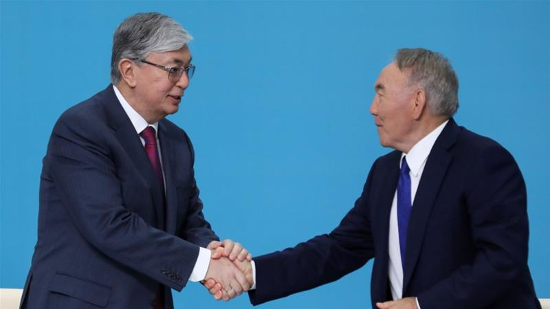 Nazarbayev's (R) backing for Tokayev sets the stage for a smooth handover of power in the Central Asian nation [Reuters]