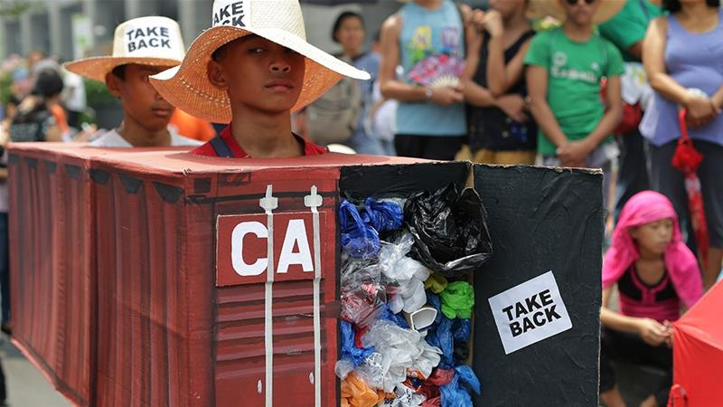 Ties between the two countries have been deteriorating since a Canadian company sent about 100 shipping containers that included rotting rubbish wrongly labelled as recyclable to Philippine ports in 2013 and 2014 [File: Aaron Favila/AP]