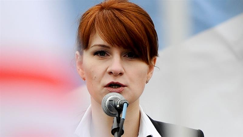 Maria Butina, leader of a pro-gun organisation in Russia, speaks to a crowd during a rally in support of legalising the possession of handguns in Moscow, Russia [File: AP Photo]