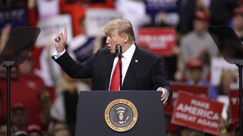 US President Donald Trump speaks to his supporters at a MAGA rally in Green Bay, Wisconsin [Darren Hauck/AFP]