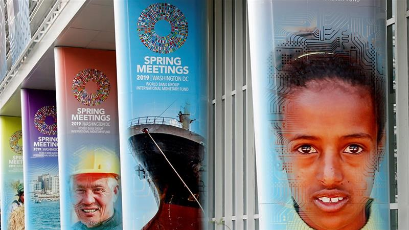 The World Bank headquarters building is decorated ahead of the IMF/World Bank spring meetings in Washington [Yuri Gripas/Reuters]