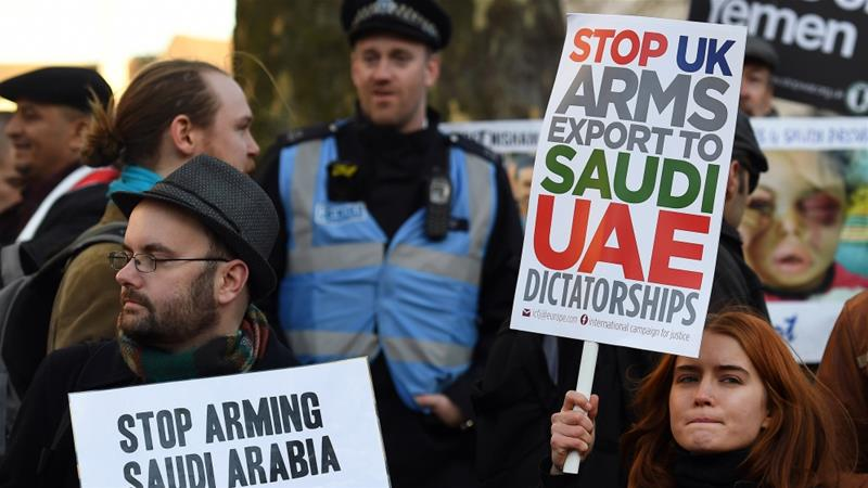 The UK has licensed at least about $6bn worth of arms to Saudi forces since the bombing of Yemen began in 2015 [Andy Rain/EPA]