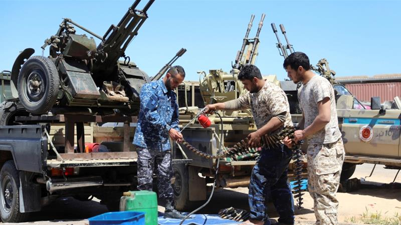 The UN says fighting between the eastern force of General Khalifa Haftar and troops loyal to the Tripoli government has displaced 9,500 people in the capital [File: Hani Amara/Reuters]