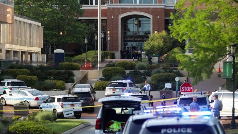 Television station WBTV reported that gunfire erupted about 5:45 pm local time near the university's Kennedy Hall administrative building. [Logan Cyrus/AFP]