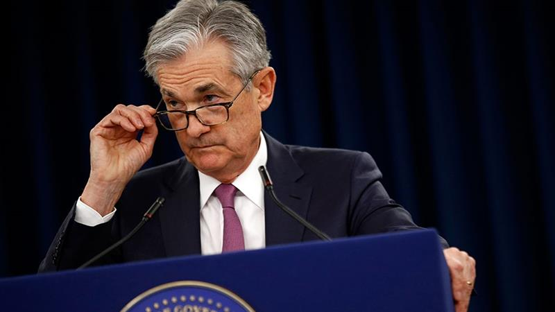 Federal Reserve Board Chair Jerome Powell speaks at a news conference following a two-day meeting of the Federal Open Market Committee [Patrick Semansky/AP Photo]