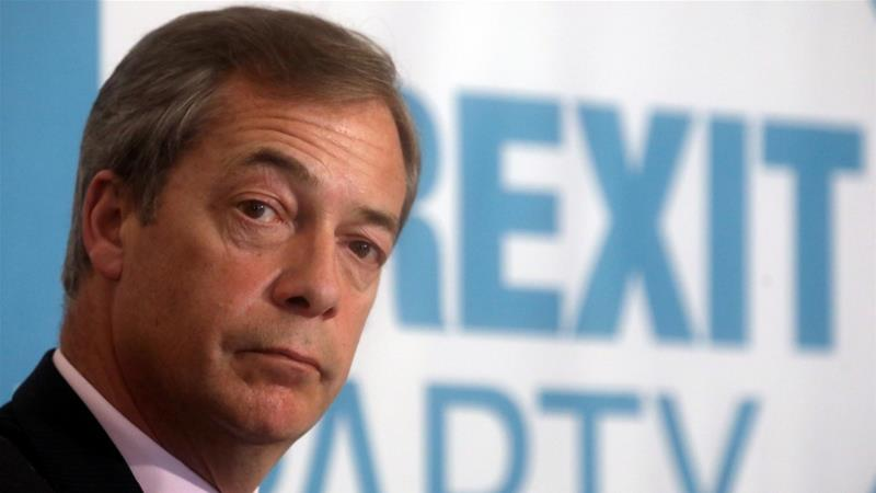 Nigel Farage, a former leader of the UK Independence Party, launched his new Brexit Party in April [File: Simon Dawson/Reuters]