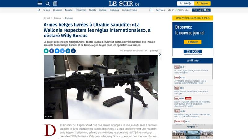 Le Soir revealed that Saudi Arabia was using Belgian weapons in Yemen [Screen shot/Le Soir]