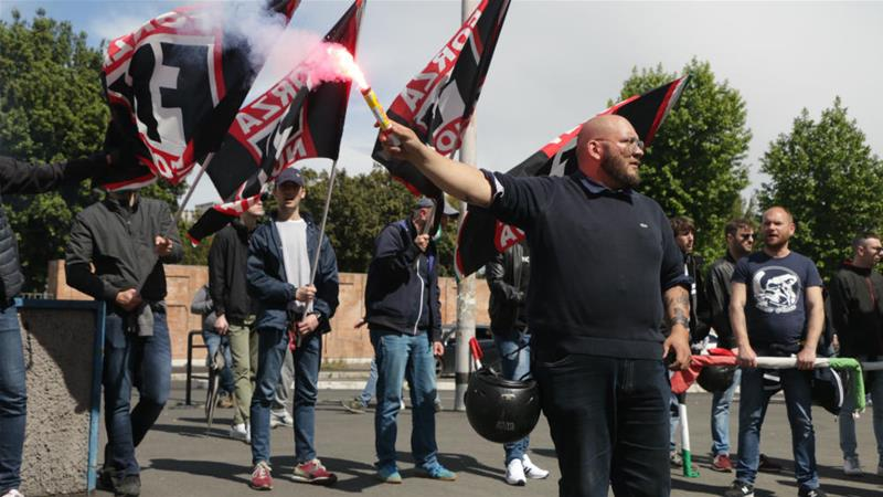 Forza Nuova defied a protest ban, calling their demonstration part of their election campaign [Ylenia Gostoli/Al Jazeera]
