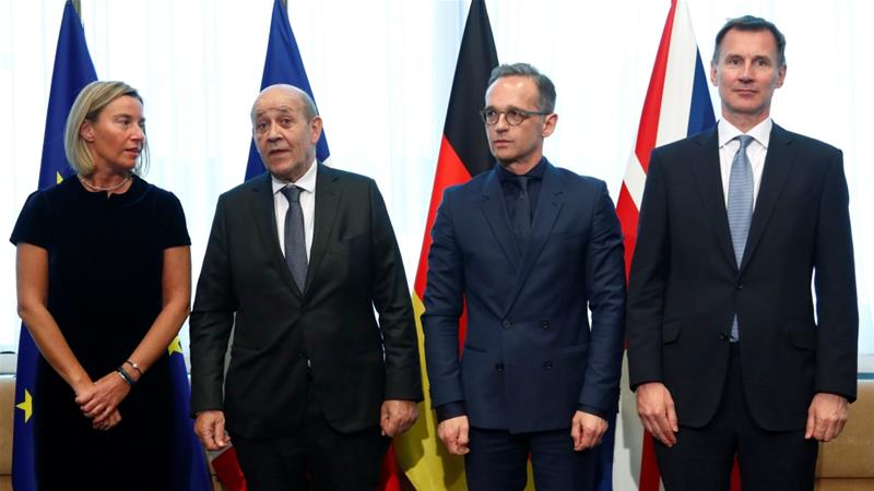 Federica Mogherini, right, chaired a meeting with German, French and British foreign ministers in Brussels [Francois Lenoir via Reuters]