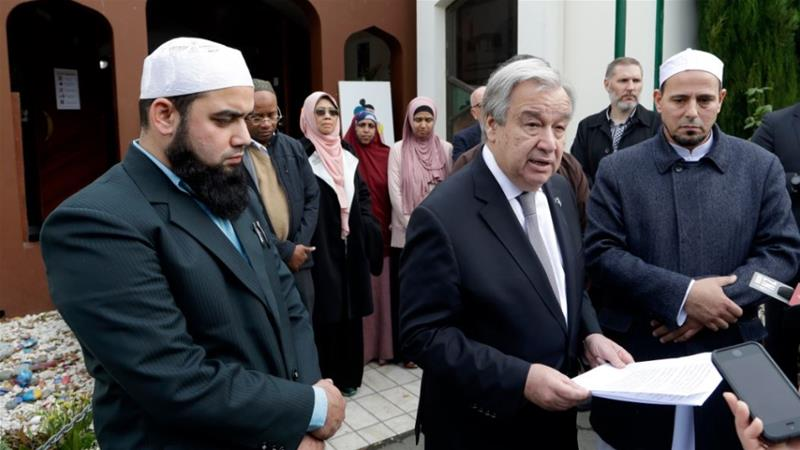 Guterres delivers a statement next to Al Noor mosque imam Gamal Fouda, right [Mark Baker/AP Photo]