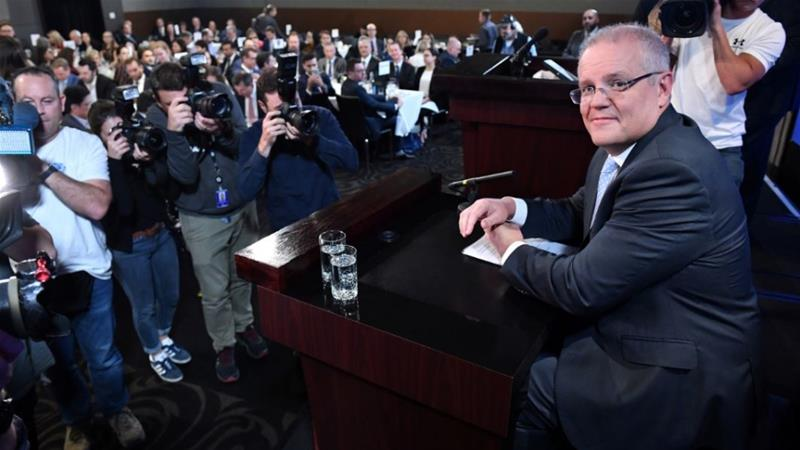 Prime Minister Morrison at the National Press Club in Canberra [Mick Tsikas/AAP Image via Reuters]