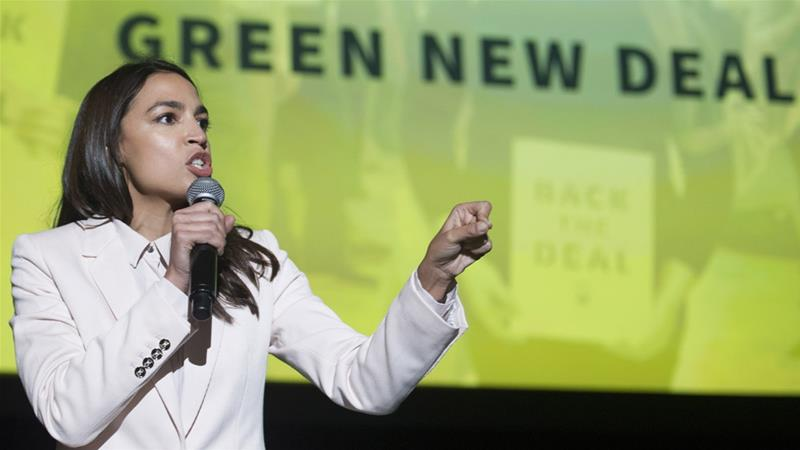 US Congressional representative Alexandria Ocasio-Cortez has been the primary advocate for the Green New Deal at the national level [Cliff Owen/AP]