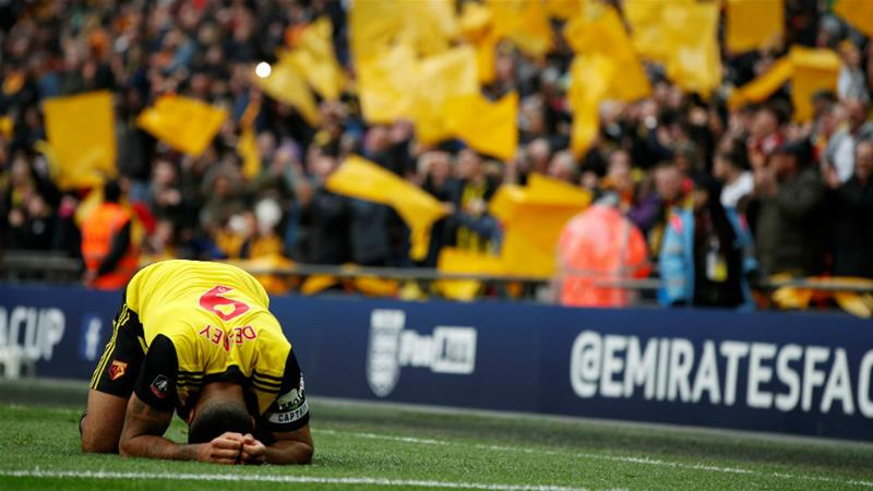 Watford captain Troy Deeney celebrates after winning the FA Cup semi-final [John Sibley/Reuters]