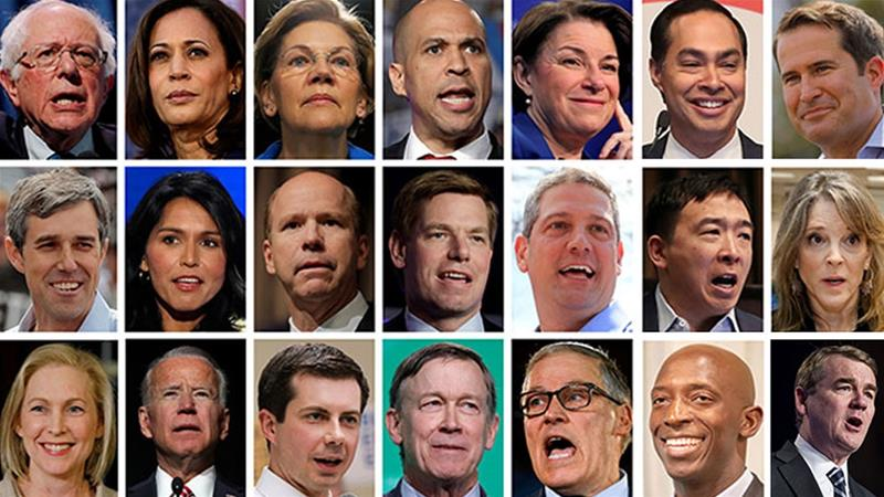 2020 Democratic presidential candidates are seen in a combination of file photos [Files/Reuters/AFP]