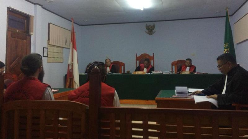 Jakob Skrzypski (left) in court during his trial for treason in Wamena, Papua [Febriana Firdaus/Al Jazeera]