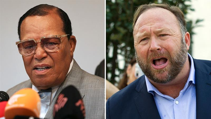 This combination of file photo shows Louis Farrakhan and conspiracy theorist Alex Jones [Files: AP Photo]
