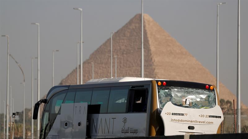 A blast near the Grand Egyptian Museum and the Giza pyramids wounded tourists in a bus on Sunday [Amr Abdallah Dalsh/Reuters]