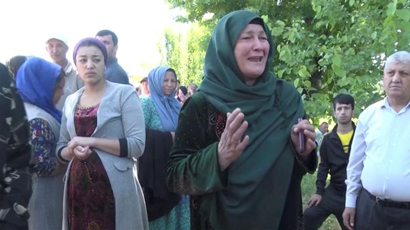 Relatives of inmates react to reports about deadly riots inside a prison in the city of Vakhdat, Tajikistan [Radio Free Europe/Radio Liberty/ via Reuters]