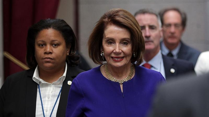 US Speaker of the House Nancy Pelosi arrives at a House Democrats meeting at the Capitol [Alex Wong/Getty Images/AFP]